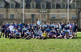 rugby teams in front of Boys' School